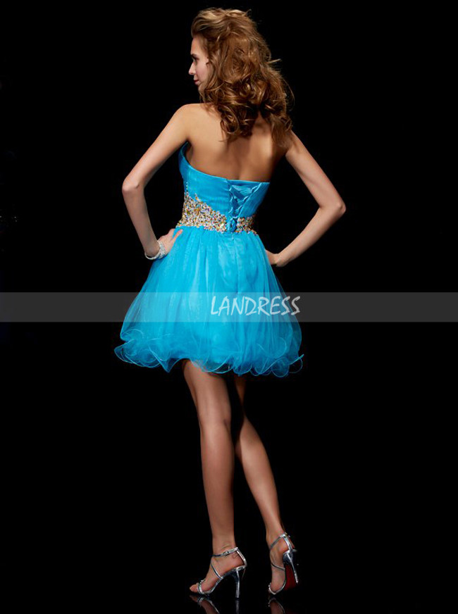 A-line Blue Sweet 16 Dresses,Tulle Homecoming Dress,11457