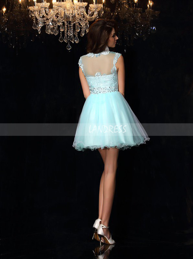 Aqua Sweet 16 Dresses,Short Illusion Homecoming Dress,11458