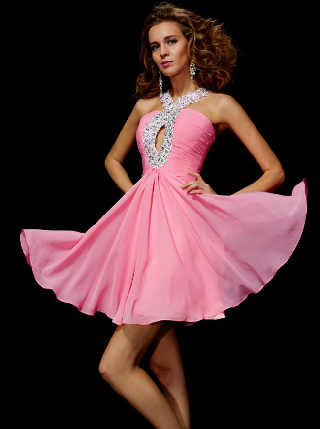 Pink Short Homecoming Dresses,Chiffon Cocktail Dress with Keyhole,11459