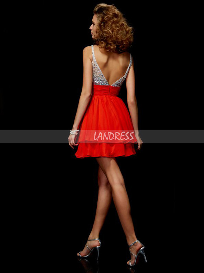Red Short Homecoming Dresses,Beaded Cocktail Dress,11462