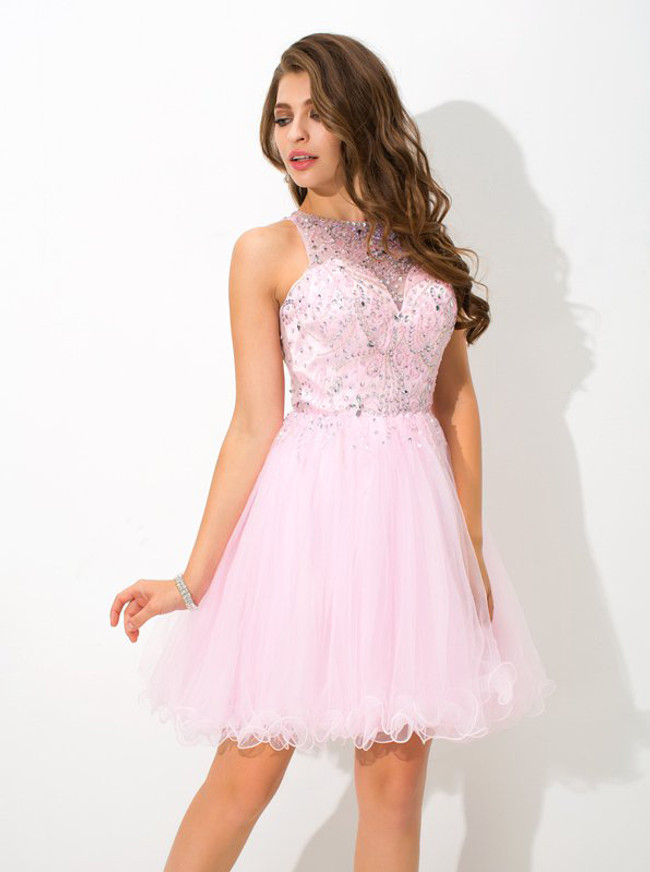 Pink Sweet 16 Dresses,Beaded Homecoming Dress,11465