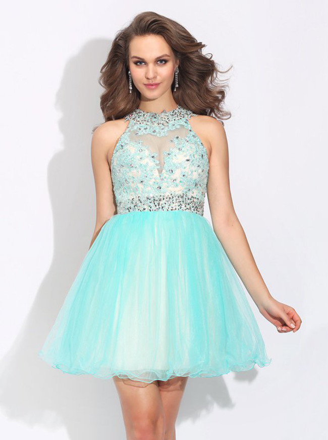 Aqua Sweet 16 Dresses,Tulle Open Back Cocktail Dress,11468