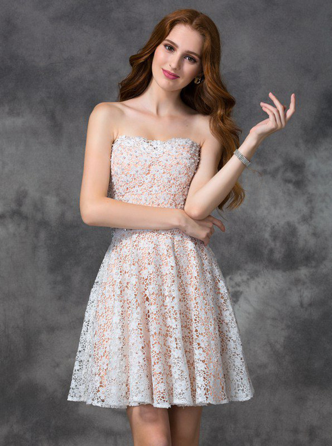 White Homecoming Dresses,Lace Cocktail Dress,Strapless Homecoming Dress,11469