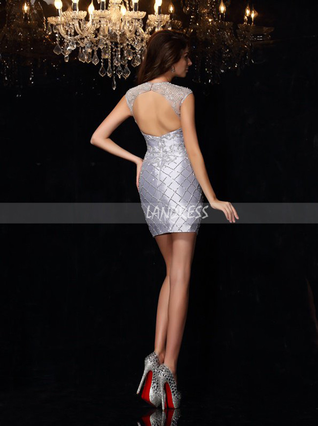 Fitted Cocktail Dress with Cutout Back,Mini Length Homecoming Dress,11471