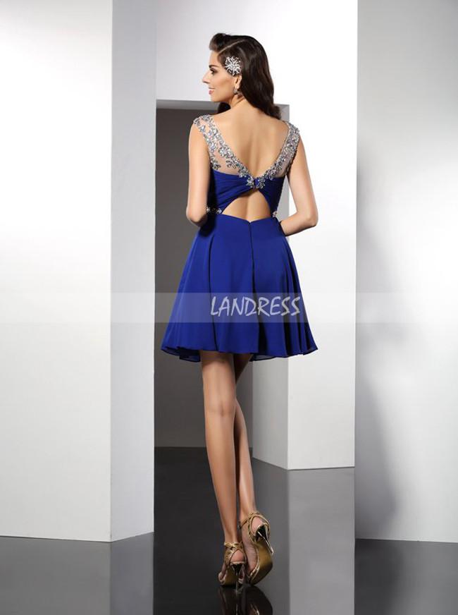 Royal Blue Chiffon Cocktail Dresses,Empire Homecoming Dress,11473