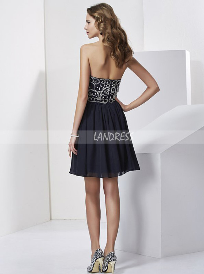 Dark Navy Strapless Homecoming Dresses,Modest Cocktail Dress,11474