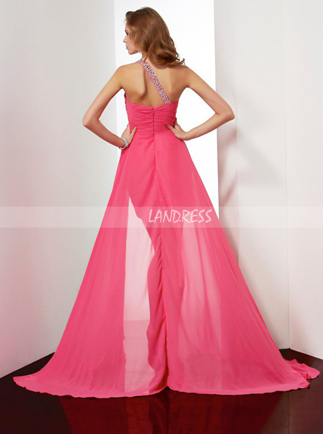 HotPink High Low Homecoming Dresses,One Shoulder Tight Cocktail Dress,11475
