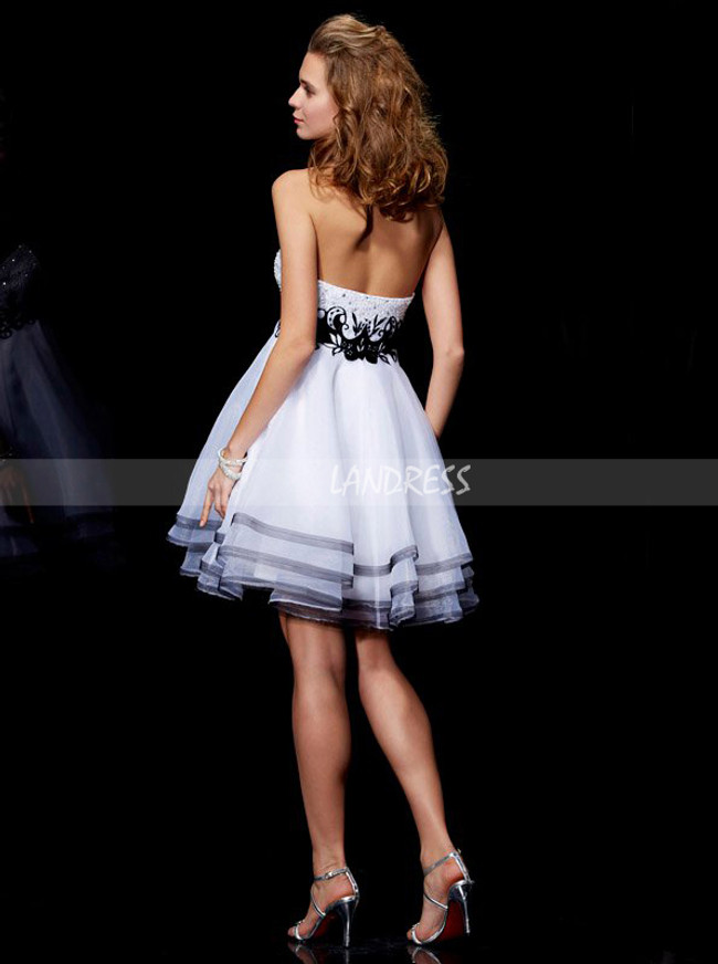 White Layered Tulle Sweet 16 Dresses,Empire Homecoming Dress,11477