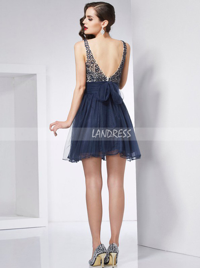Navy Homecoming Dresses,Tulle Homecoming Dress,Elegant Cocktail Dress,11478