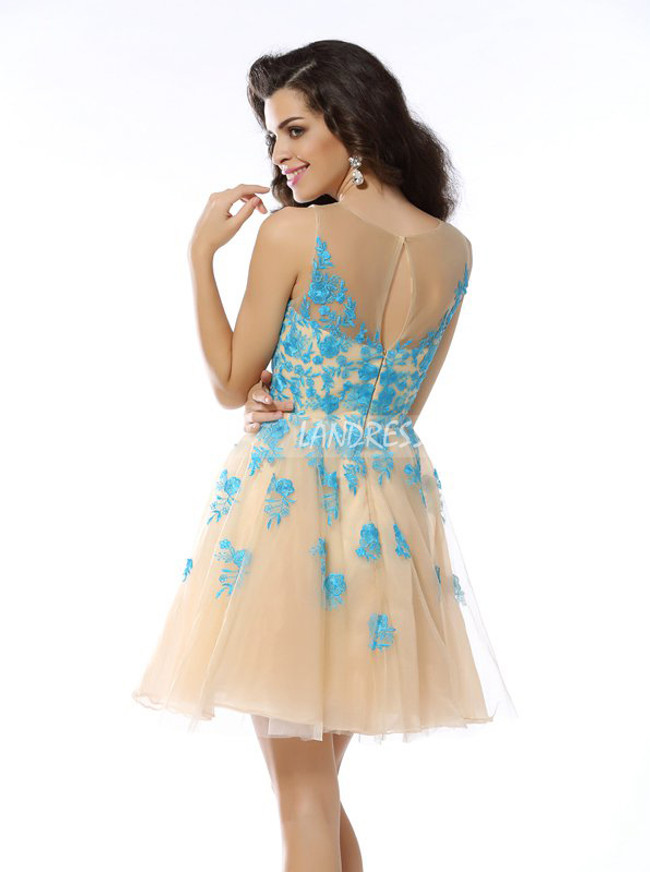 Champagne A-line Homecoming Dresses,Tulle Cocktail Dress,11480