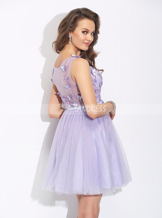 Lilac A-line Homecoming Dresses,Tulle Sweet 16 Dress,11483