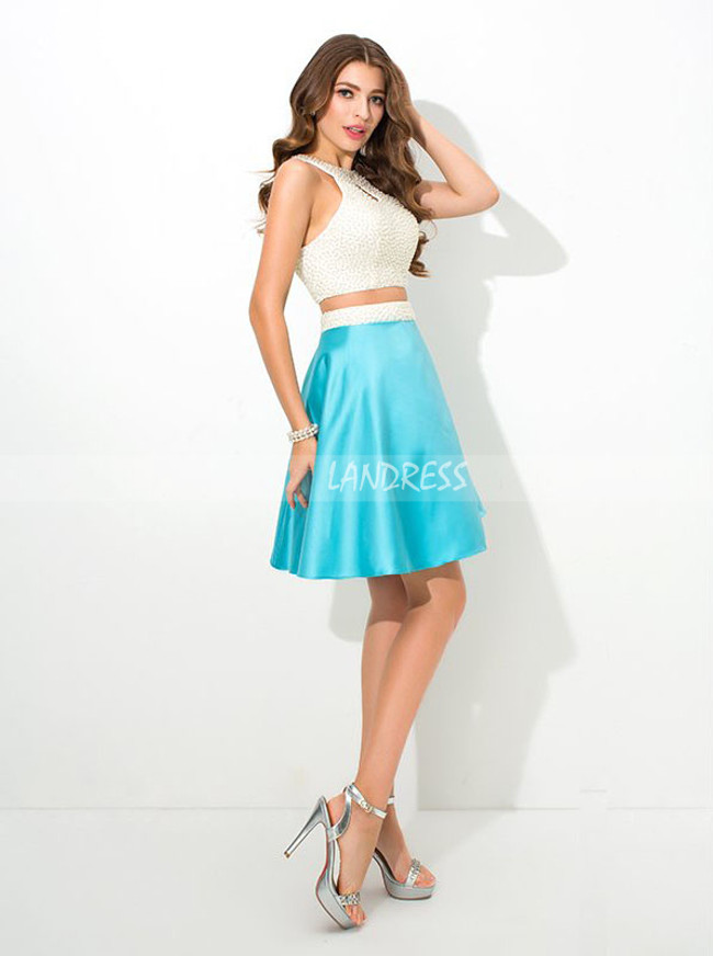 Two Piece Cocktail Dresses,Blue Satin Homecoming Dress,11484
