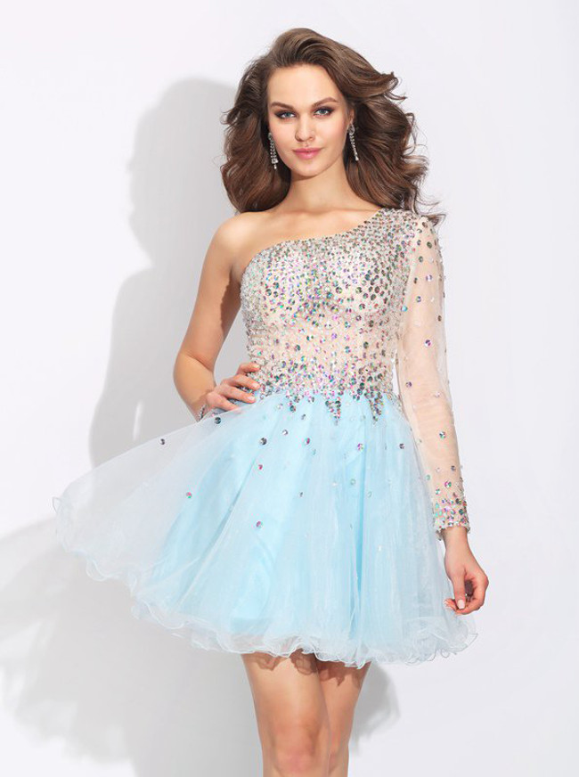 Asymmetrical Homecoming Dress with One Shoulder,Sparkly Cocktail Dress,11485