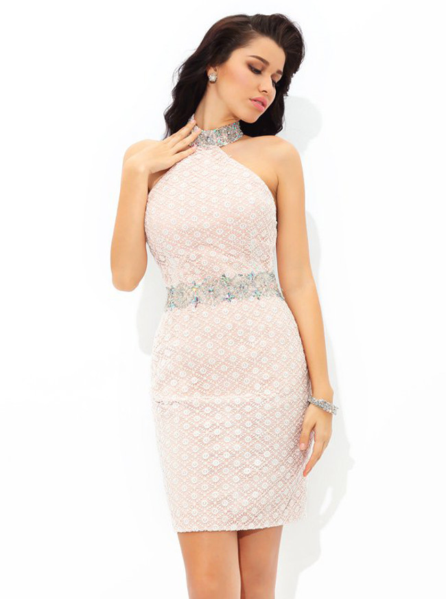 Sheath Halter Cocktail Dresses,Lace Fitted Homecoming Dress,11486