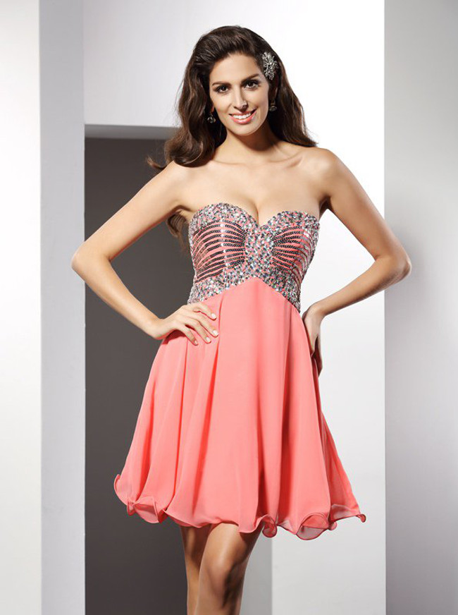 Coral Homecoming Dresses,Sequined Sweetheart Cocktail Dress,11487