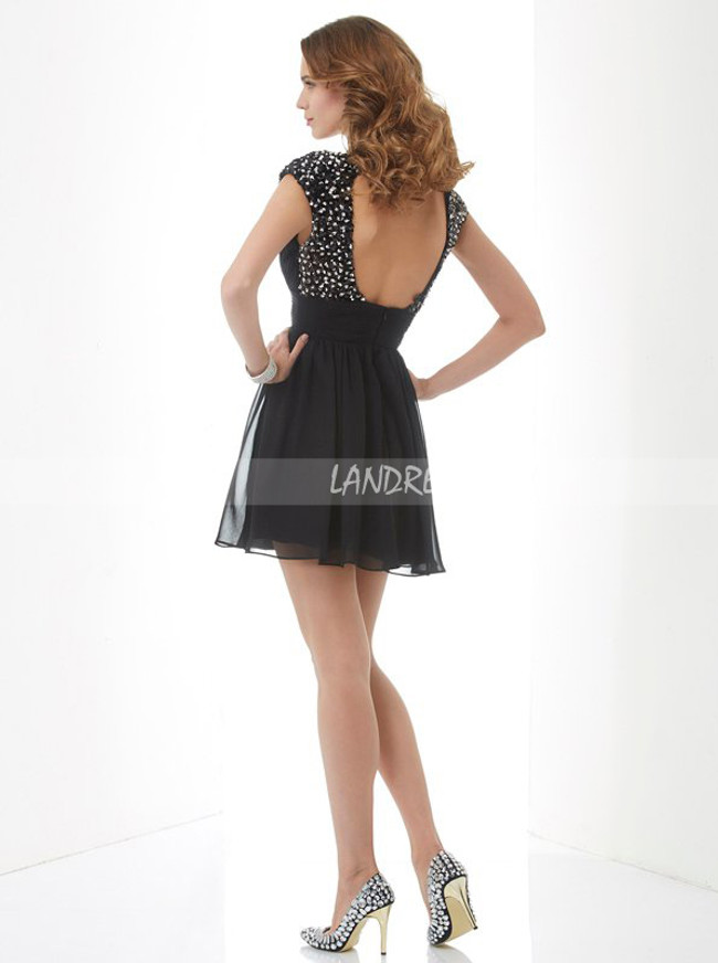 Black Cocktail Dress,Open Back Homecoming Dresses,11488