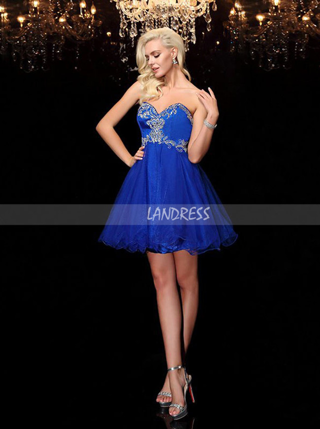 Royal Blue Sweet 16 Dresses,Tulle Lace Up Cocktail Dress,11490