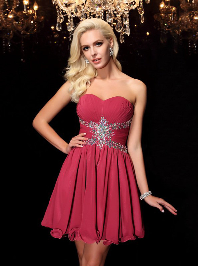 Burgundy Cocktail Dresses,Sweetheart Homecoming Dress,11492