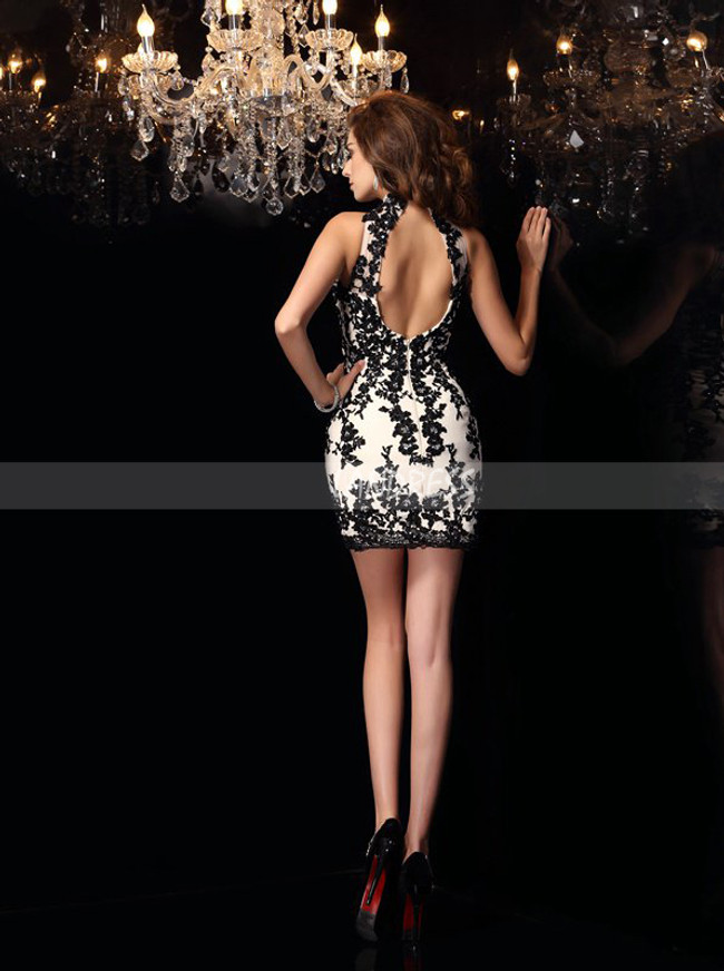 Fitted Cocktail Dresses,High Neck Homecoming Dress with Open Back,11493