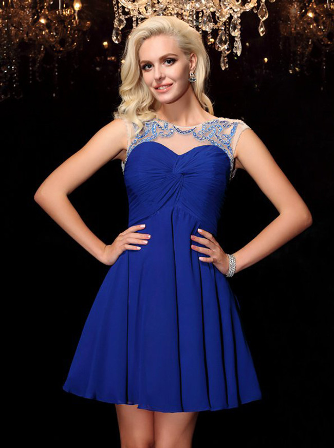 Royal Blue Chiffon Cocktail Dresses,Modest Homecoming Dress,11494