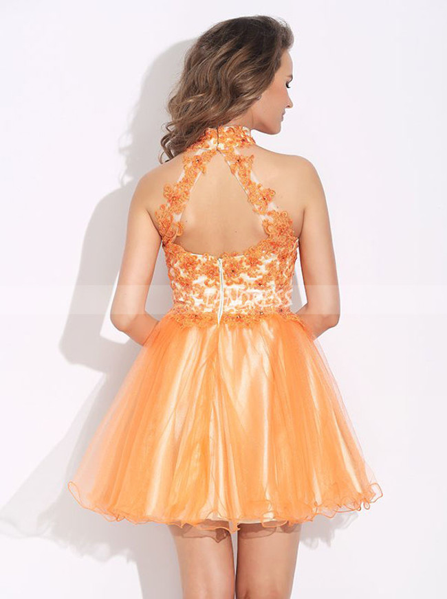 Orange A-line Homecoming Dresses,High Neck Cocktail Dress,11495