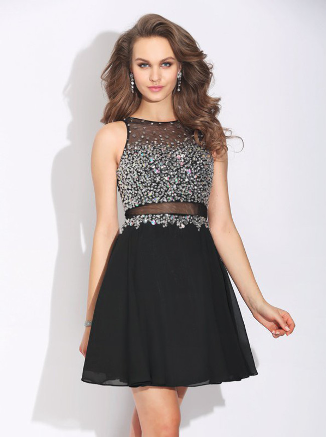 Black Short Homecoming Dresses,Illusion Beaded Cocktail Dress,11496