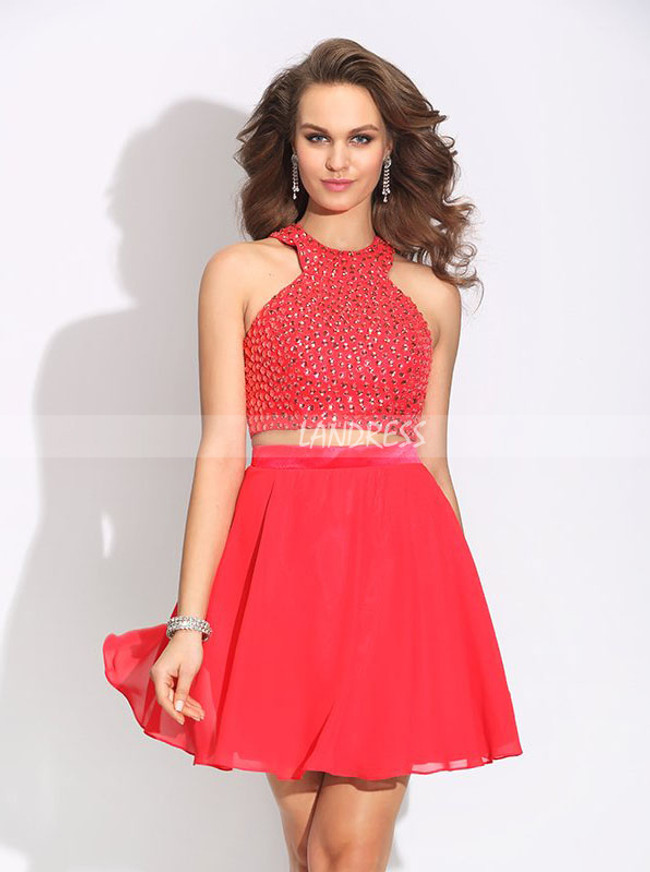 Red Short Homecoming Dresses,Two Piece Cocktail Dress,11497