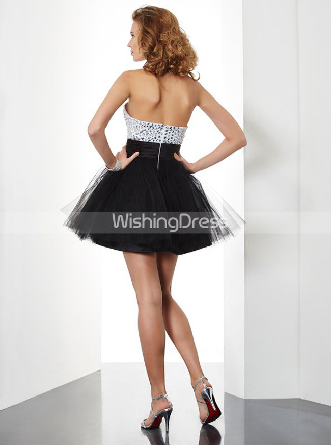 Black Sweet 16 Dresses,Strapless Short Homecoming Dress,11499