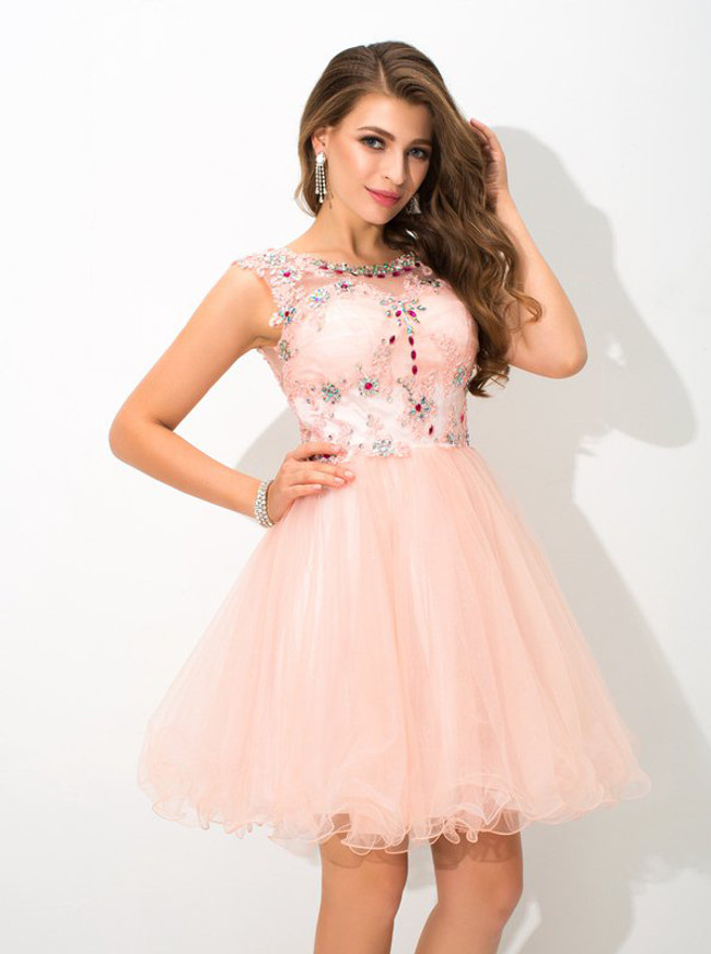 Peach Cocktail Dresses,Tulle A-line Sweet 16 Dress,11500