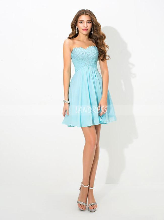 Blue Short Homecoming Dress,Chiffon Strapless Cocktail Dress,11501