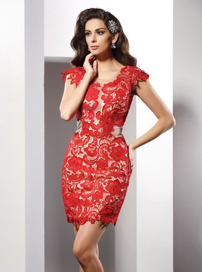 Red Open Back Cocktail Dresses,Lace Short Homecoming Dress,11503
