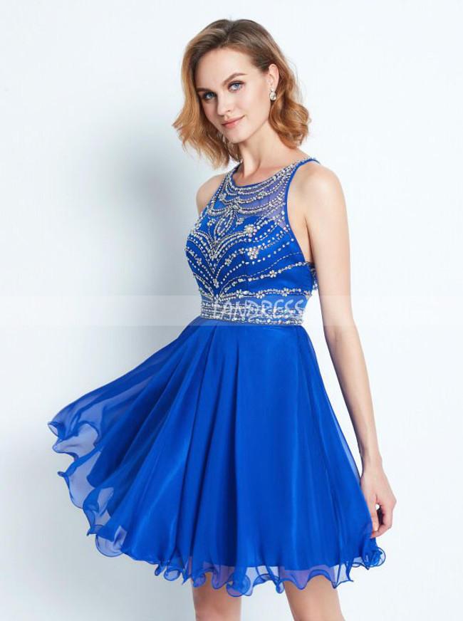 Royal Blue Homecoming Dresses,Chiffon Cocktail Dress,11505