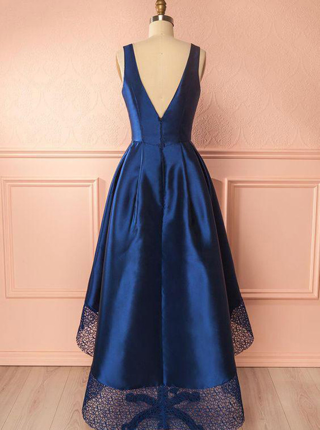 Dark Navy Homecoming Dresses,High Low Short Prom Dresses,11506