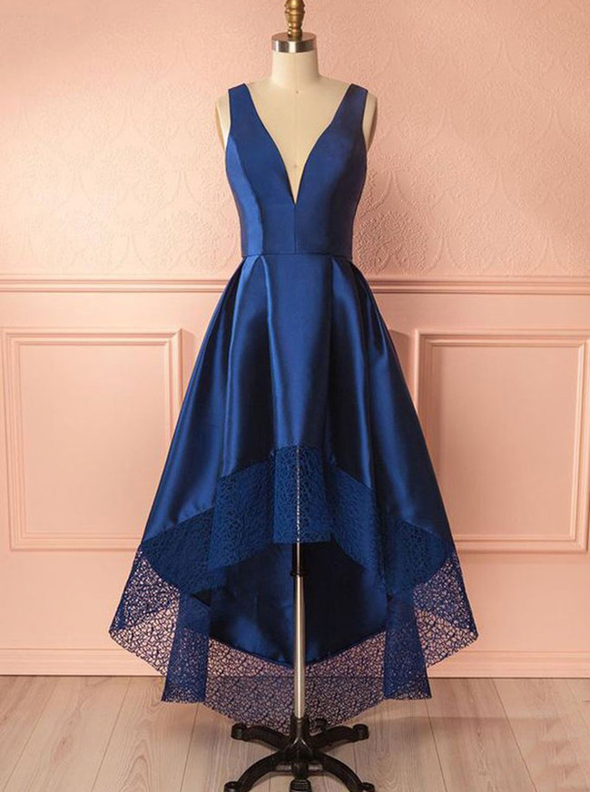 Dark Navy Homecoming Dresses,High Low Short Prom Dresses,11506