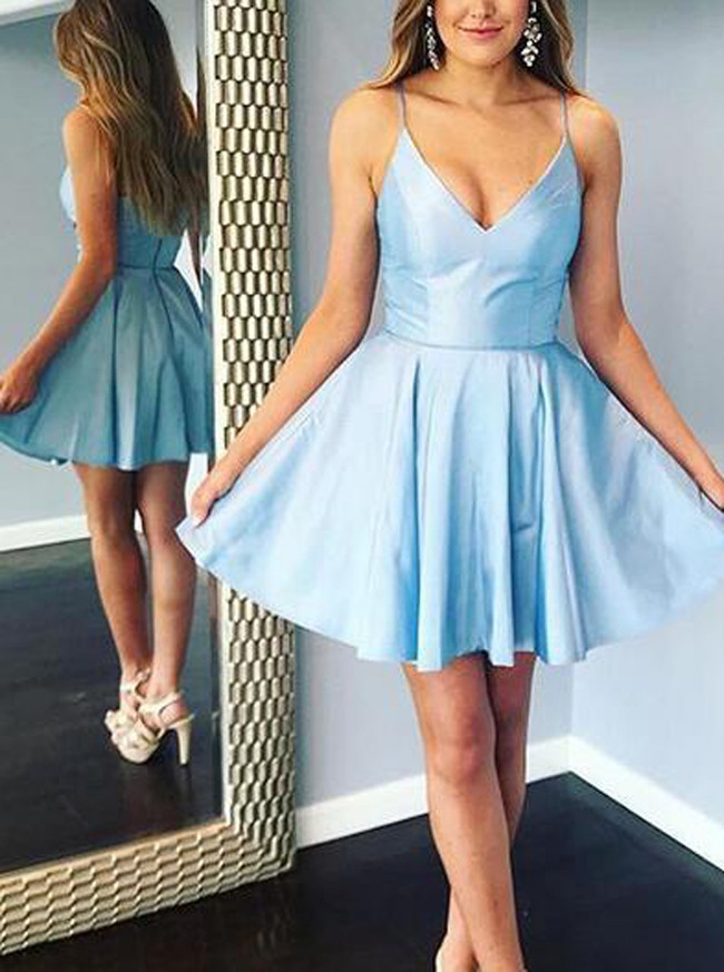 Blue A-line Cocktail Dresses,Spaghetti Straps Homecoming Dress,11508