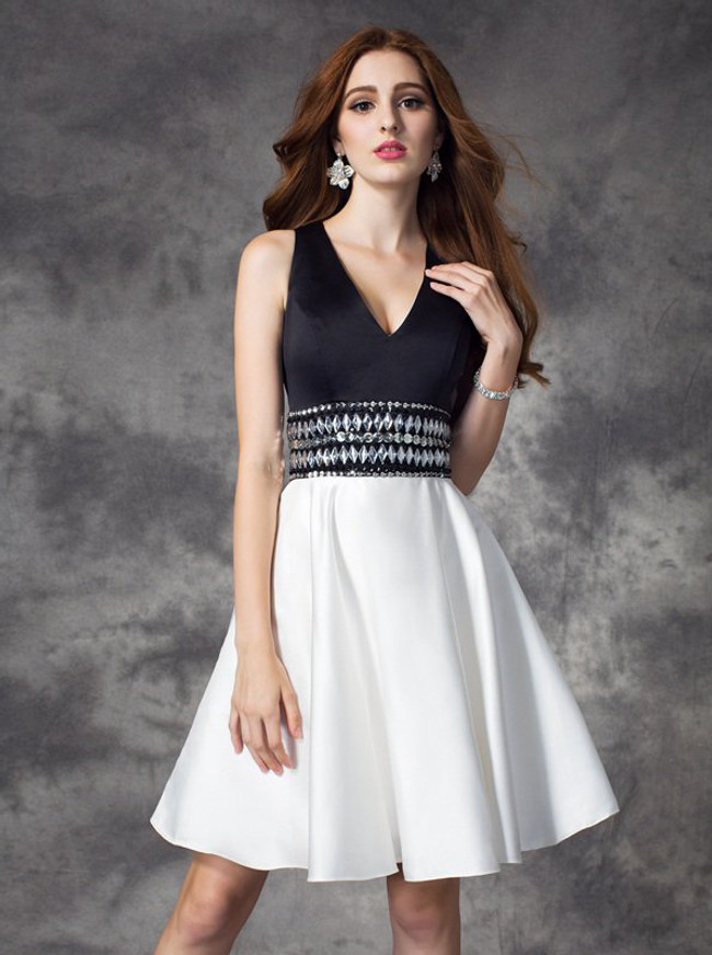 Two Tone Cocktail Dresses,A-line Satin Homecoming Dress,11509