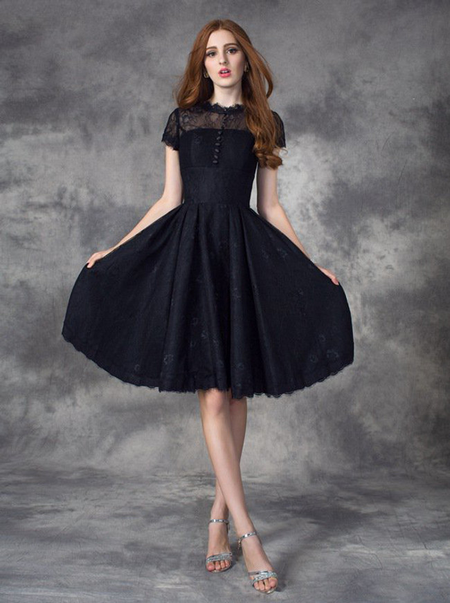 Black Lace Homecoming Dress with Short Sleeves,Short Prom Dress For Teens,11510