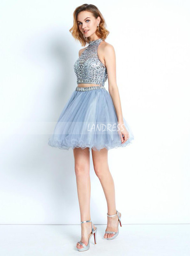 Two Piece Beaded Homecoming Dresses,Silver Cocktail Dress,11511
