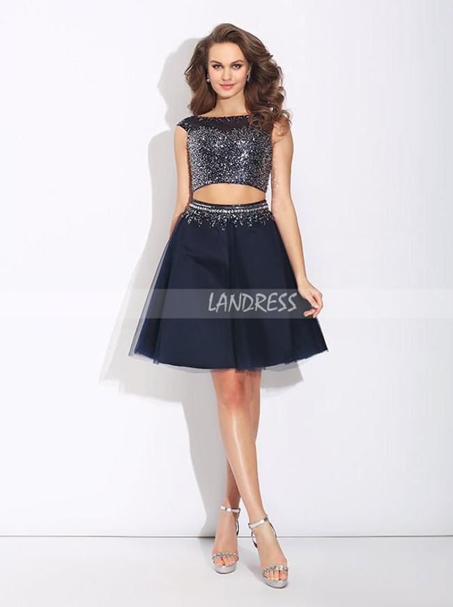 Two Piece Homecoming Dresses,Beaded Dark Navy Cocktail Dresses,11513