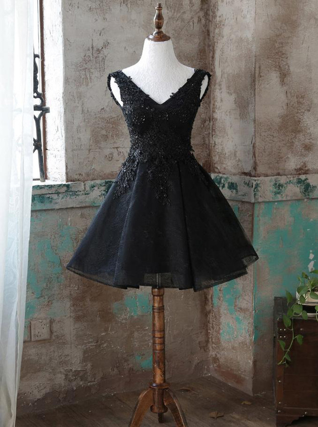 Black A-line Homecoming Dresses,Lace Sweet 16 Dress,Short Prom Dress,11514