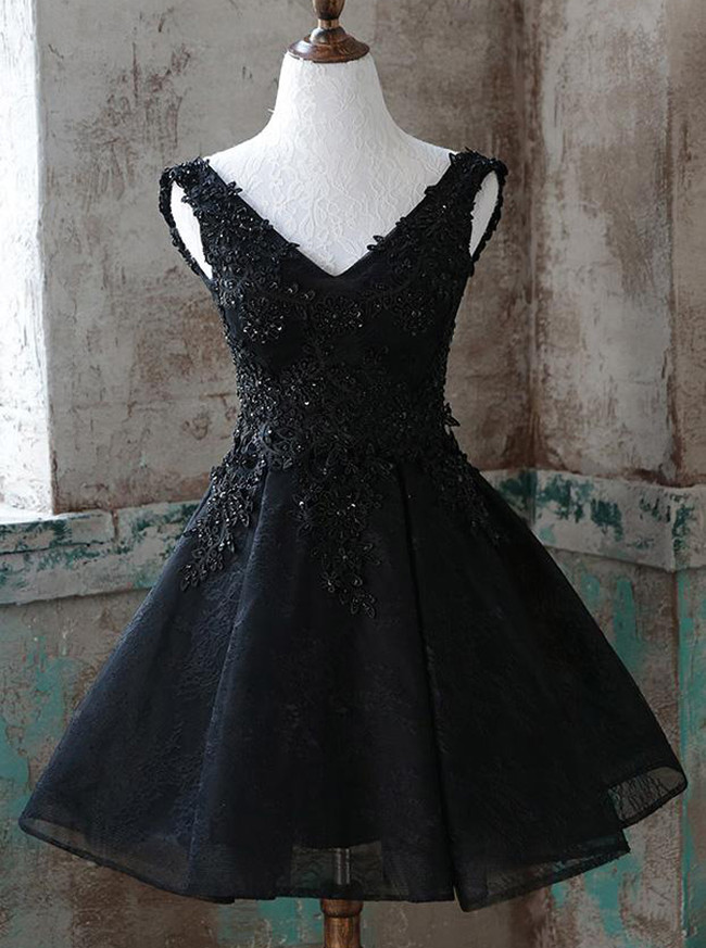 Black A-line Homecoming Dresses,Lace Sweet 16 Dress,Short Prom Dress,11514
