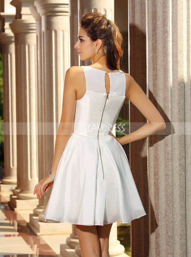 White A-line Homecoming Dresses,Simple Cocktail Dress,11516