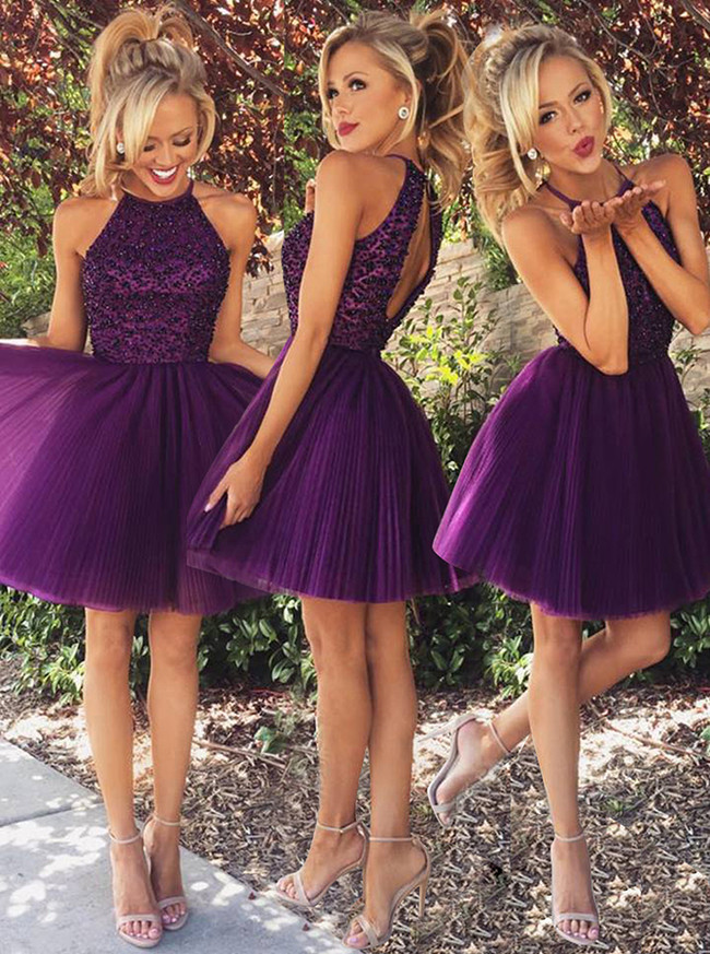Purple Homecoming Dresses,Short Beaded Cocktail Dress,11517