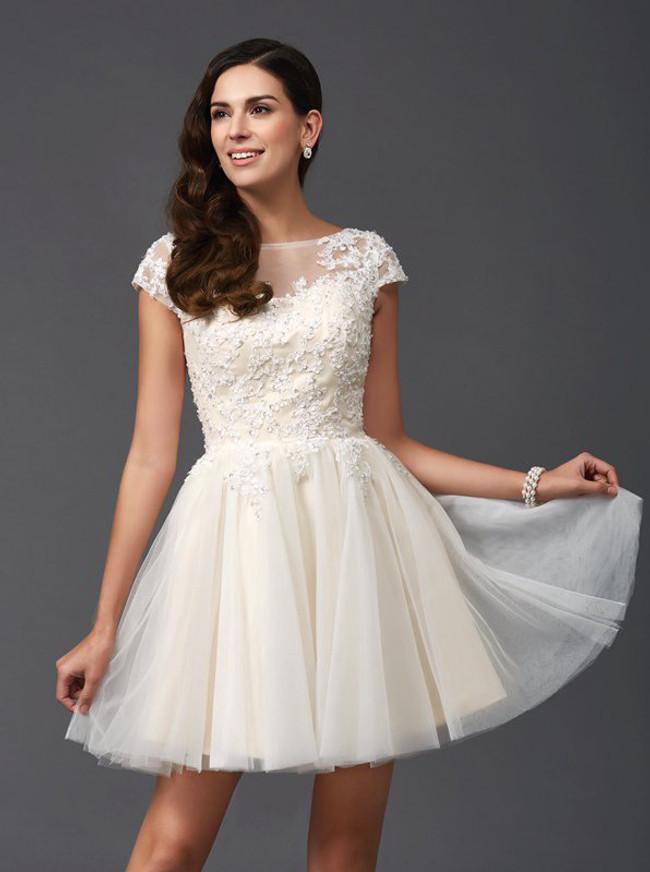 Ivory Sweet 16 Dresses with Cap Sleeves,Short Homecoming Dress,11518