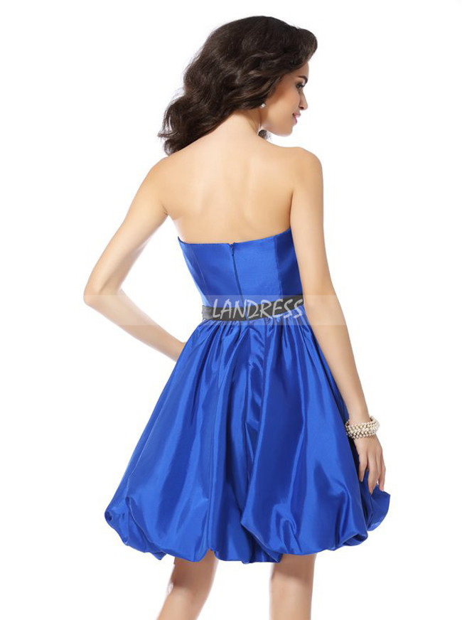 Royal Blue A-line Homecoming Dresses,Strapless Cocktail Dress,11520