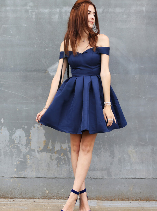 Off the Shoulder Homecoming Dresses,Dark Navy Cocktail Dress,11522