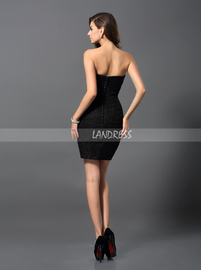 Sheath Black Cocktail Dresses,Lace Homecoming Dress,11523