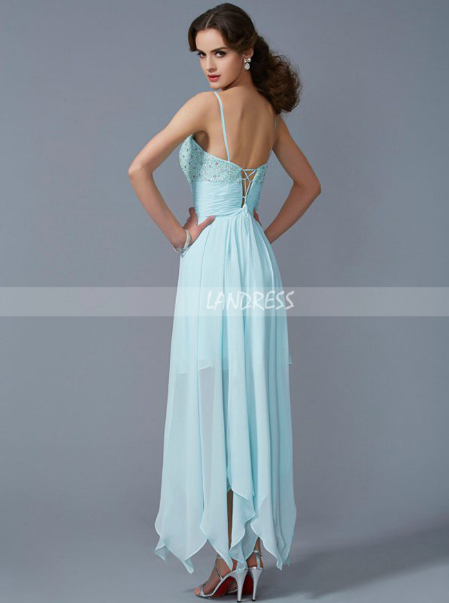 Aqua Homecoming Dresses,High Low Spaghetti Straps Prom Dresses,11524