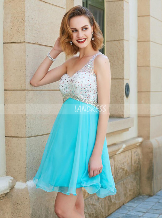 One Shoulder Crystal Cocktail Dress,Chiffon Short Homecoming Dress with Cutout Back,11525
