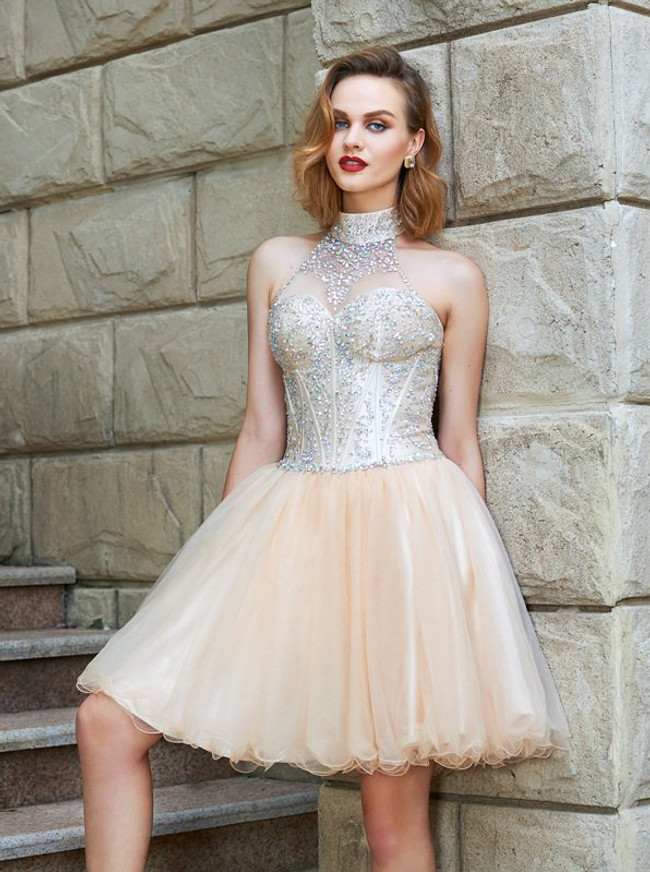 Champagne High Neck Homecoming Dresses,Sparkly Cocktail Dress,11526